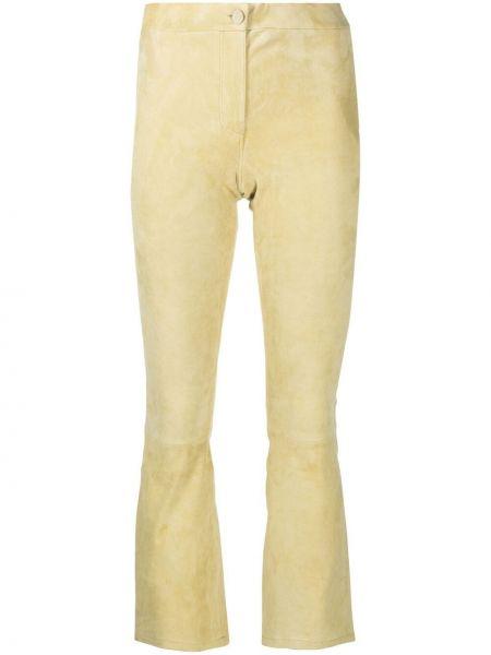 Желтые расклешенные кожаные брюки Arma