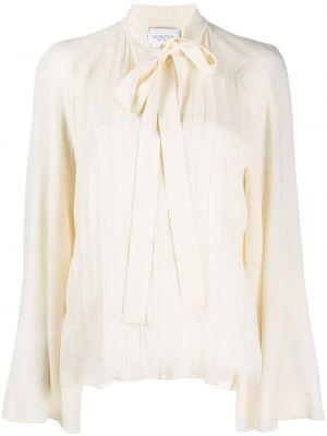 Шелковая блузка с длинным рукавом с бантом с вырезом с завязками Giambattista Valli