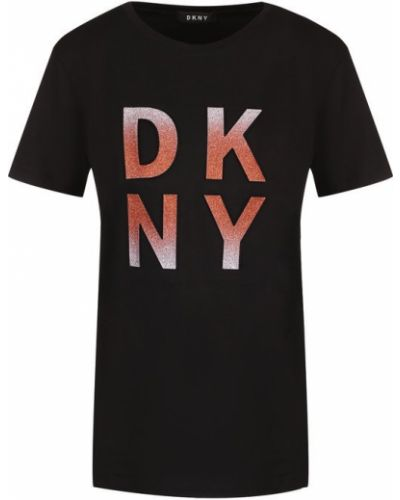 Черная футболка с логотипом Dkny