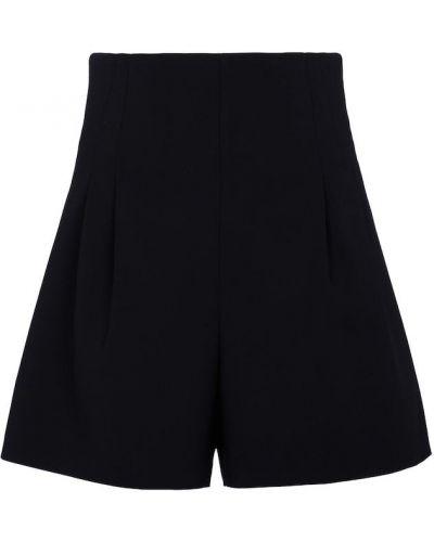 Шерстяные черные шорты стрейч Carolina Herrera