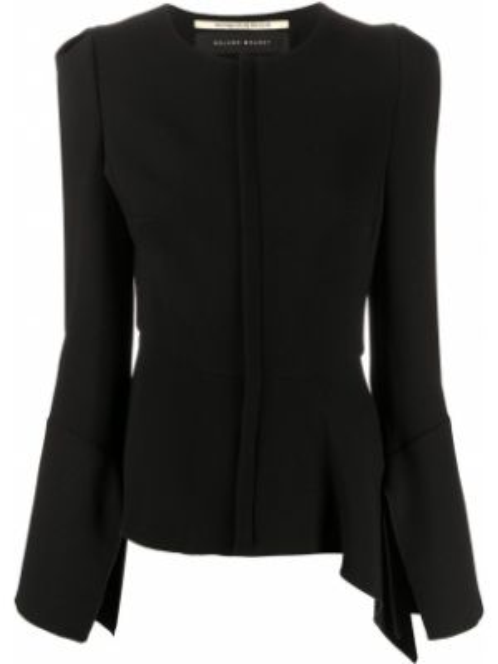 Шерстяной черный приталенный короткая куртка Roland Mouret
