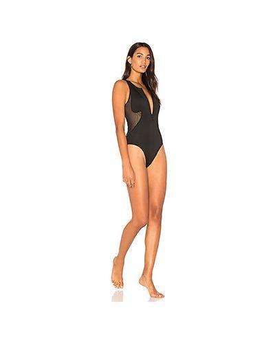 Слитный купальник черный с молнией Kendall + Kylie