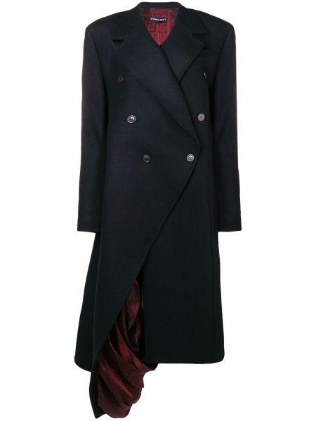 Шерстяное длинное пальто с капюшоном двубортное Y/project