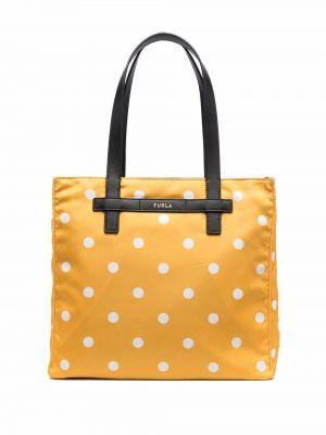 Желтая кожаная сумка шоппер с принтом Furla