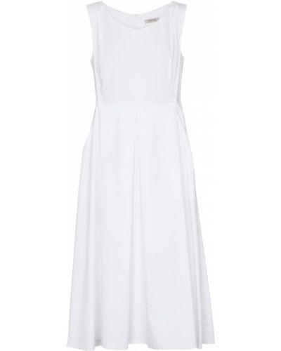 Ватное хлопковое белое платье миди 's Max Mara