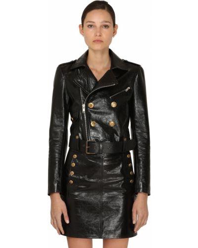 Czarna kurtka skórzana z paskiem Givenchy