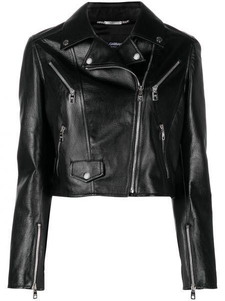 Черная кожаная длинная куртка с подкладкой Dolce & Gabbana