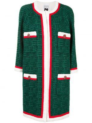 Zielony długi płaszcz bawełniany z długimi rękawami Edward Achour Paris