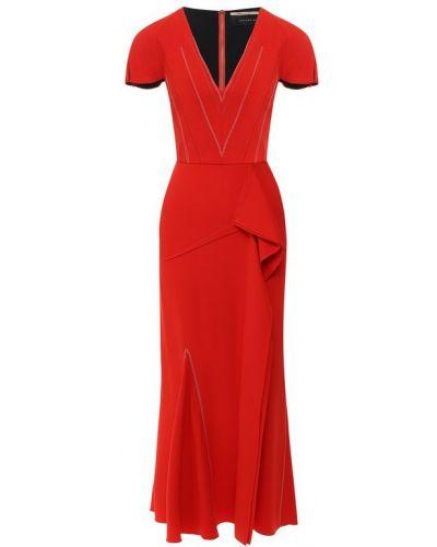 Платье миди с V-образным вырезом из вискозы Roland Mouret