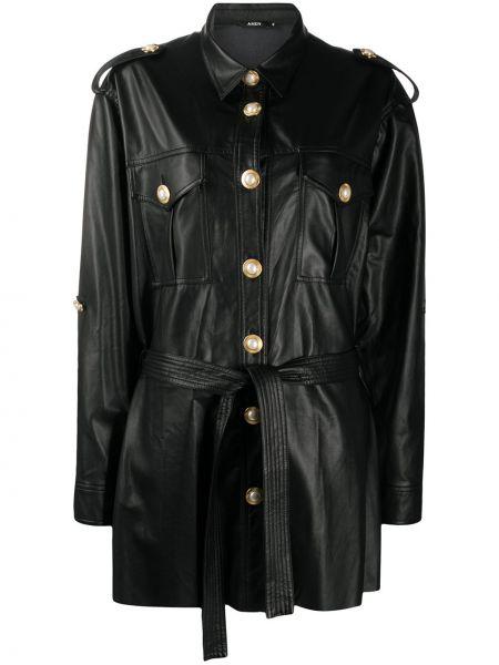 Черная кожаная длинная куртка с воротником Amen