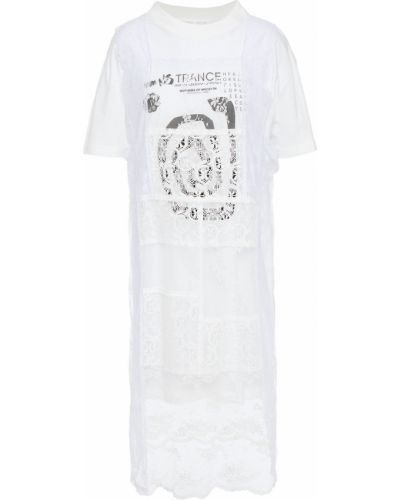Трикотажное кружевное белое платье Mcq Alexander Mcqueen