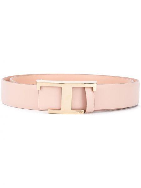 Золотистый кожаный розовый ремень квадратный Tods