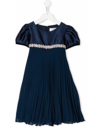 Расклешенное синее платье с рукавами с вырезом круглое Lesy