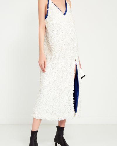 Прямое белое платье миди с пайетками Artem Krivda
