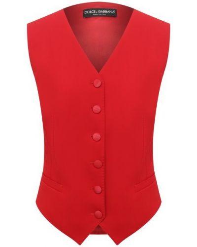 Красная шерстяная жилетка с подкладкой Dolce & Gabbana