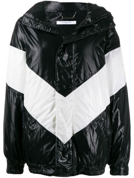 Черный пуховик с капюшоном свободного кроя Givenchy