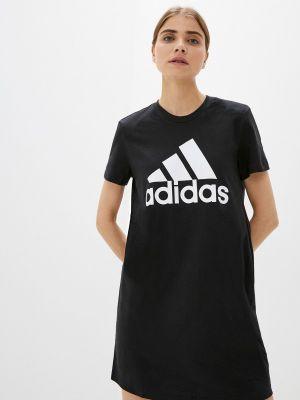 Черное платье-футболка Adidas