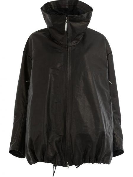 Черное кожаное длинное пальто с воротником Isaac Sellam Experience