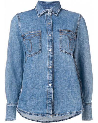 Джинсовая рубашка на кнопках с карманами Calvin Klein Jeans