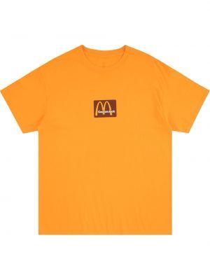 Żółty t-shirt bawełniany krótki rękaw Travis Scott Astroworld