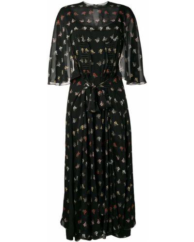 Платье в цветочный принт - черное Sonia Rykiel
