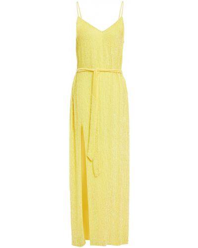 Żółta sukienka midi z wiskozy Retrofete