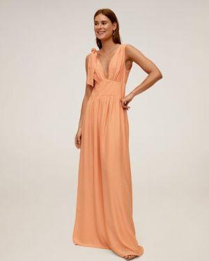 Платье на бретелях с V-образным вырезом Mango