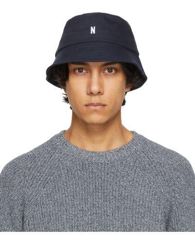 Biały kapelusz bawełniany z haftem Norse Projects