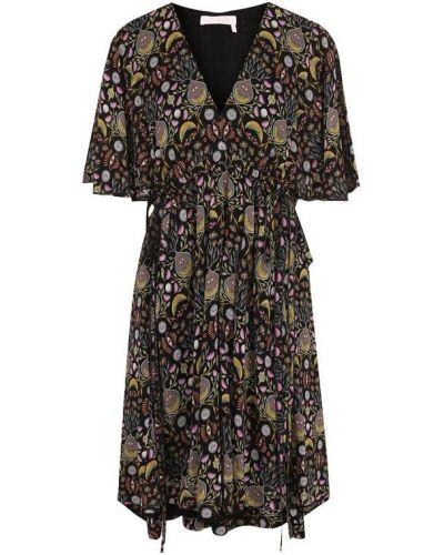 Платье мини с V-образным вырезом из вискозы Chloé