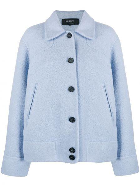 Синяя длинная куртка оверсайз из альпаки Rochas