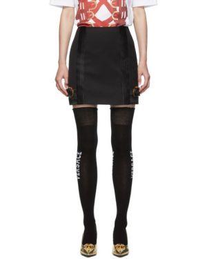 Z paskiem czarny wełniany spódnica mini na paskach Versace