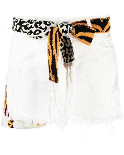 Хлопковые белые шорты с завязками Laneus
