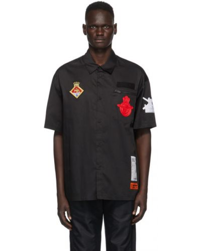 Bawełna czarny koszula krótkie z krótkim rękawem z kieszeniami z łatami Heron Preston
