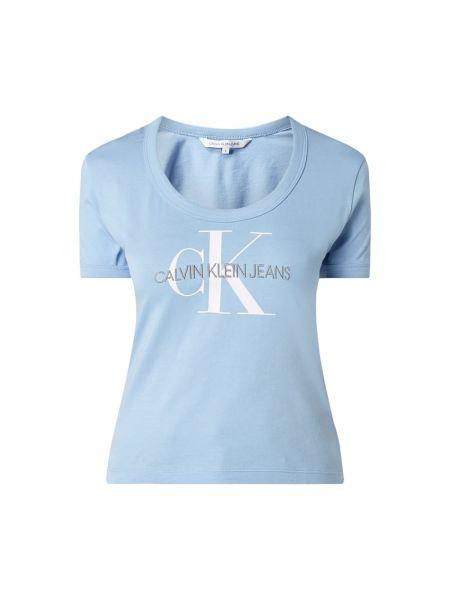 Bawełna niebieski koszula jeansowa z dekoltem krótkie rękawy Calvin Klein Jeans