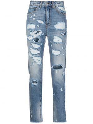 Синие укороченные джинсы на пуговицах с поясом в стиле бохо John Richmond