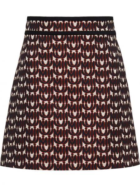 Бежевая прямая юбка мини из вискозы Miu Miu