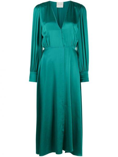 Шелковое зеленое платье миди с длинными рукавами Forte Forte
