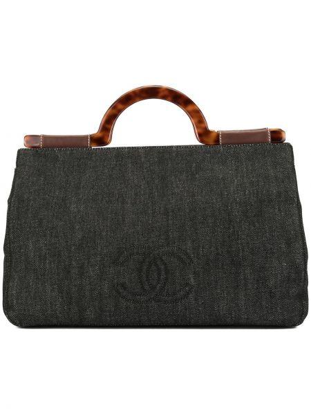 Кожаная сумка джинсовая черная Chanel Pre-owned