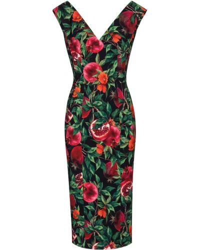 Черное платье миди из вискозы с гранатом Dolce & Gabbana