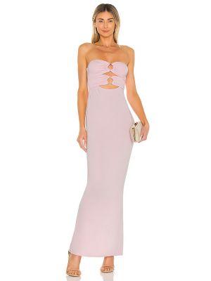 Розовое платье макси с декольте с подкладкой Michael Costello