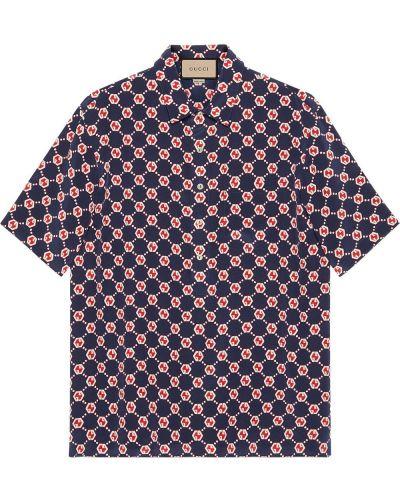 Koszula z jedwabiu - niebieska Gucci