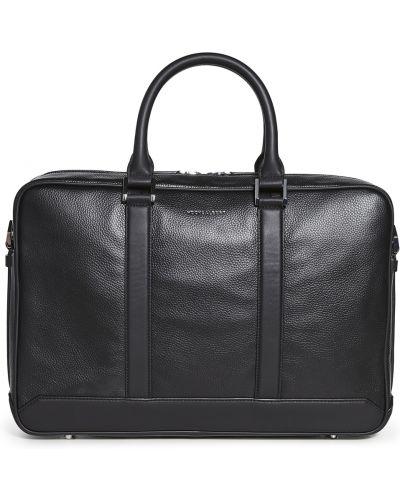 Черный кожаный портфель с карманами Hook & Albert