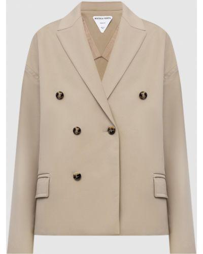 Бежевый пиджак двубортный Bottega Veneta