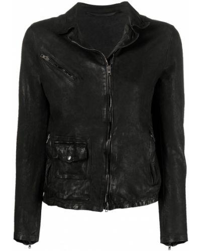 Черная кожаная куртка на молнии Salvatore Santoro