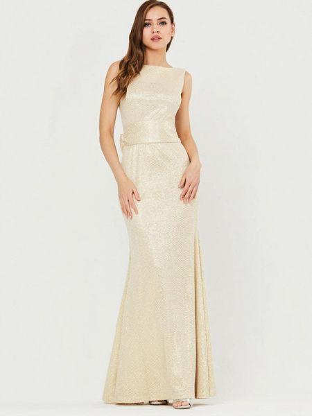 Вечернее платье осеннее золотой Vika Ra