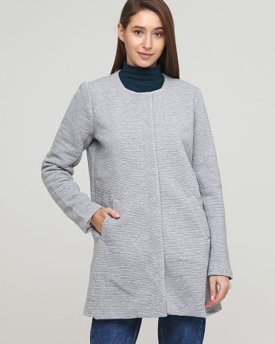 Пальто на кнопках - серое Only