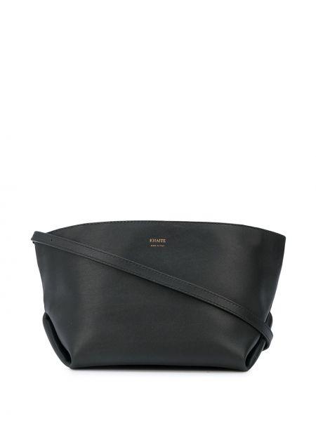 Кожаная черная сумка через плечо на молнии Khaite