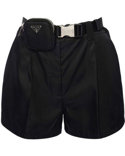 Нейлоновые черные шорты с карманами Prada