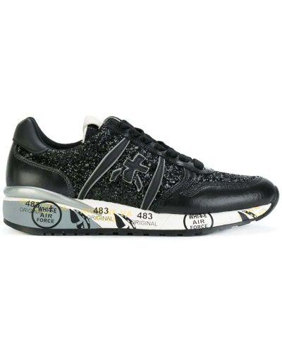Кожаные кроссовки с пайетками Premiata
