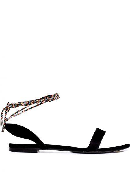 Czarne sandały skorzane płaska podeszwa Tabitha Simmons